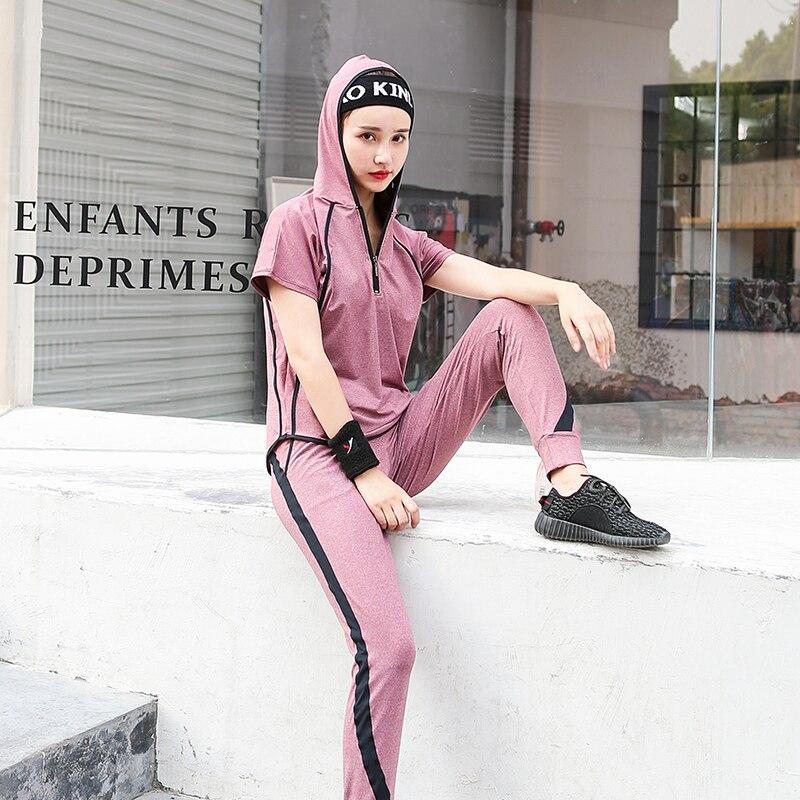 Hot Pink Girls Fitness Women 3 in 1 Set Yoga Set Hoodie & Yoga Bra & Loose Pants Gym Clothes Sport wear Running Outdoor Jogging