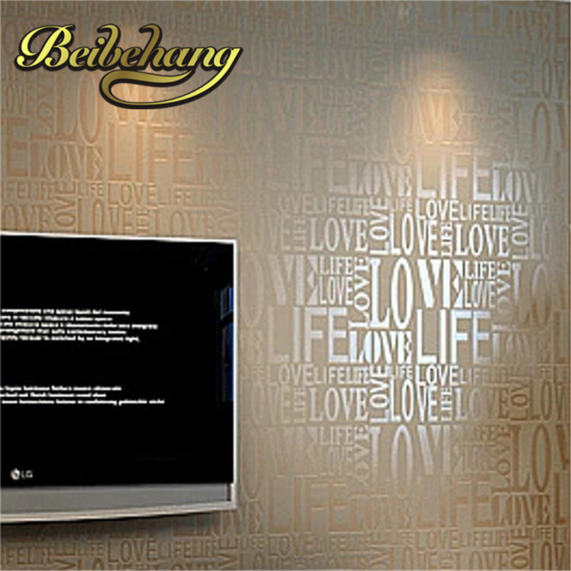 все цены на  beibehang papel de parede. Brown / Gray / Pink / Beige / White Flock Words Textured Letters wallpaper Embossed wall covering  онлайн