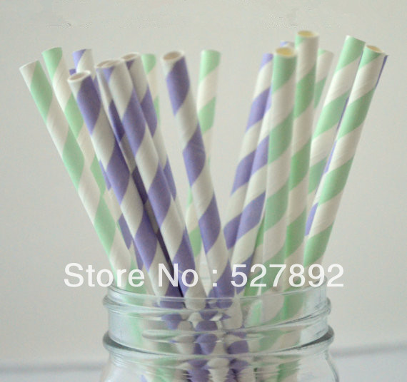 Free Shipping 100pcs Lot Light Purple And Mint Green Stripe Paper
