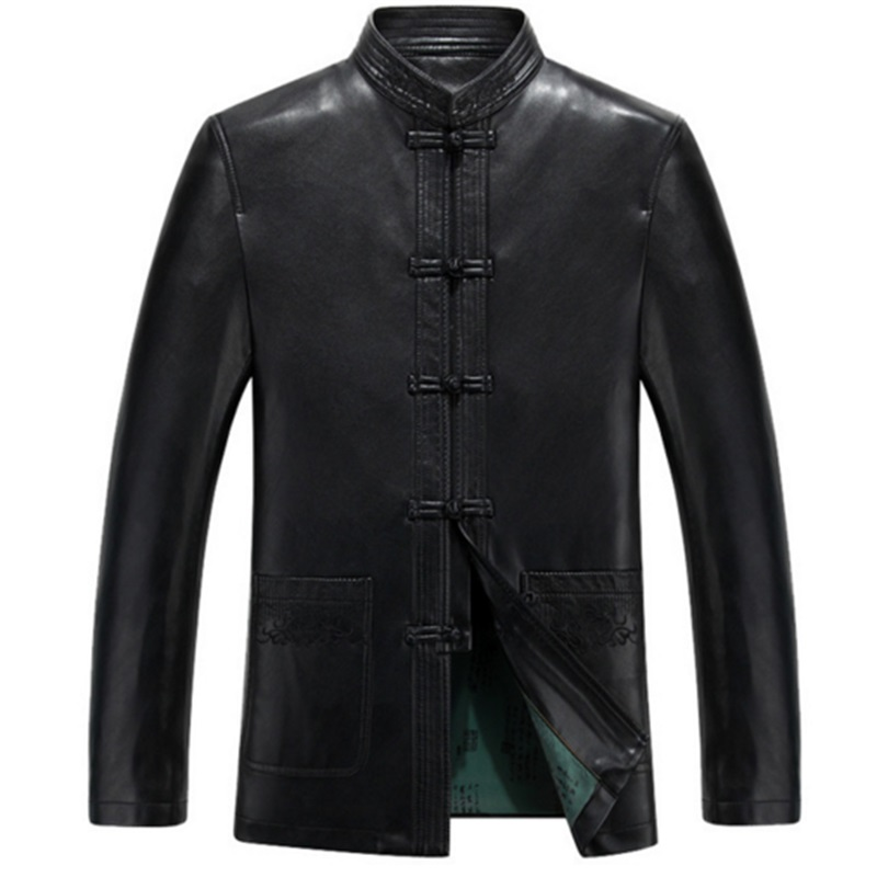 Men's Genuine Leather Long Jacket Brand Windbreaker Man Leather Jackets Autumn Coat Plus Size 5XL 4XL Men's Leather Jackets