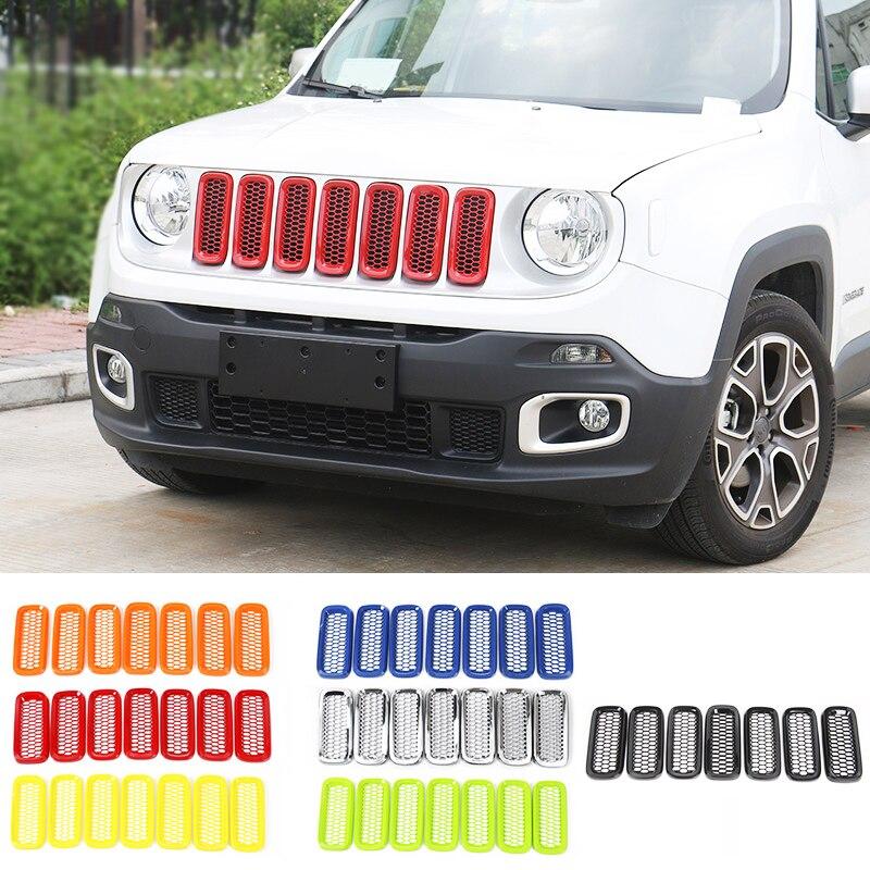 shineka auto frente malha grades inserir capa guarnicao adesivo apto para jeep renegado 2016 2018 estilo