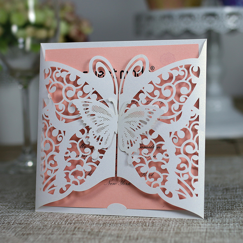 30pcs Laser Cut Butterfly Invitations Cards Kits For Wedding Bridal