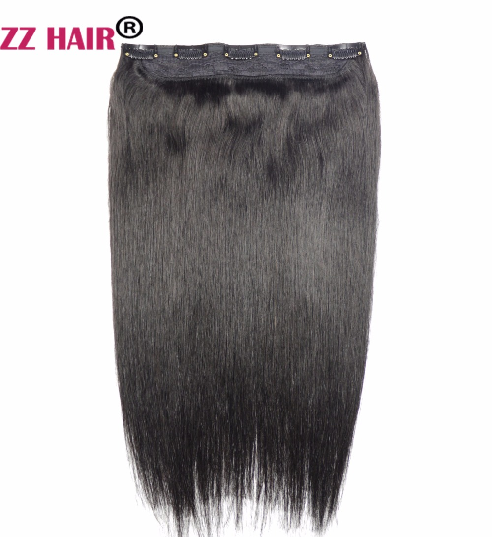 ZZHAIR 16 41cm 100 Brazilian Hair 5 Clips In Human Hair Extensions 1Pcs 80g One Piece