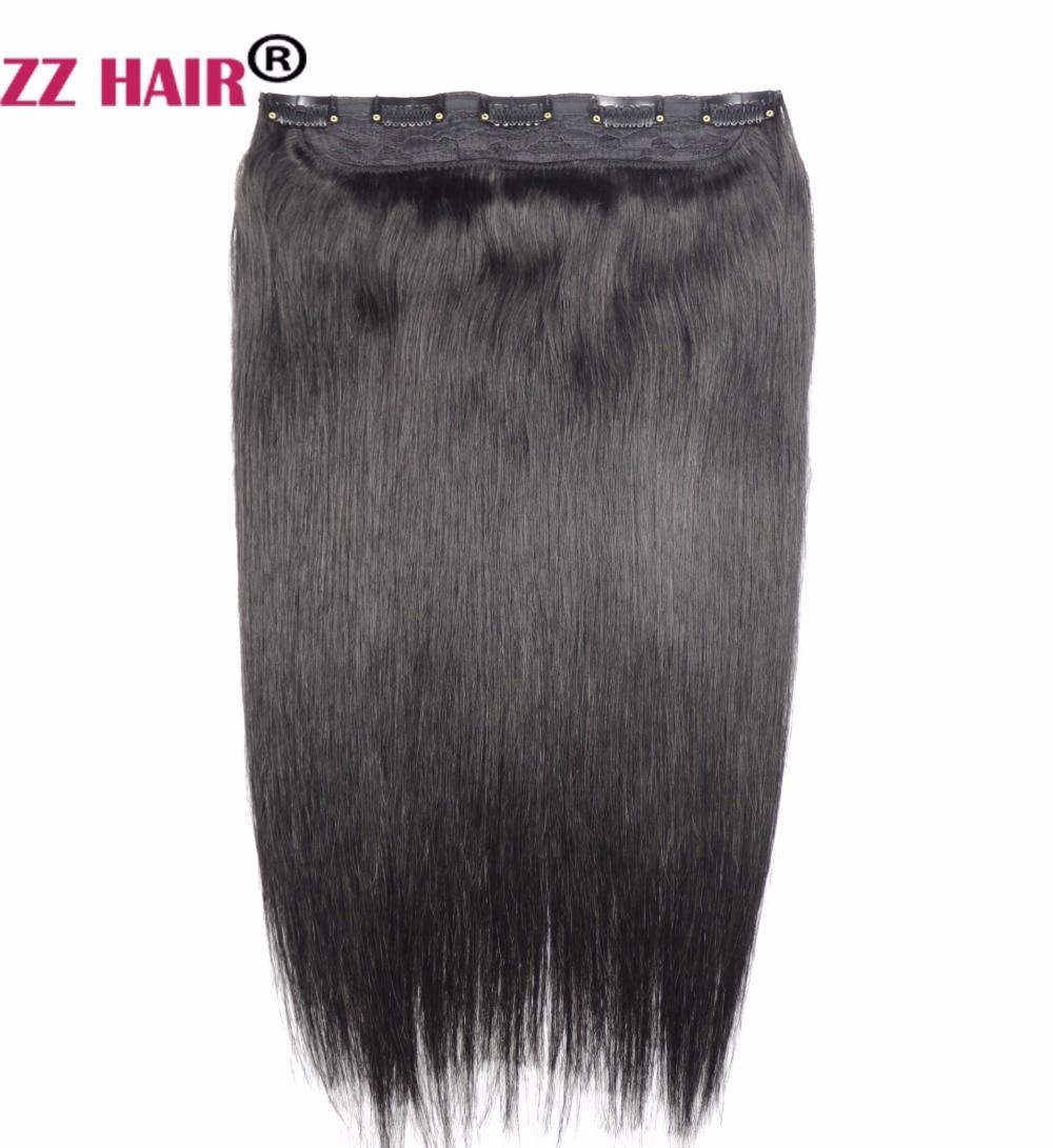 """ZZHAIR 80g 16 """"Mesin Made Remy Hair One Piece Set 5 Klip dalam 100% Sambungan Rambut Manusia 1pcs Rambut Semulajadi Lurus"""