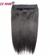 ZZHAIR 80g 16″ Machine Made Remy Hair One Piece Set 5 Clips in 100% Human Hair Extensions 1pcs Hair Natural Straight