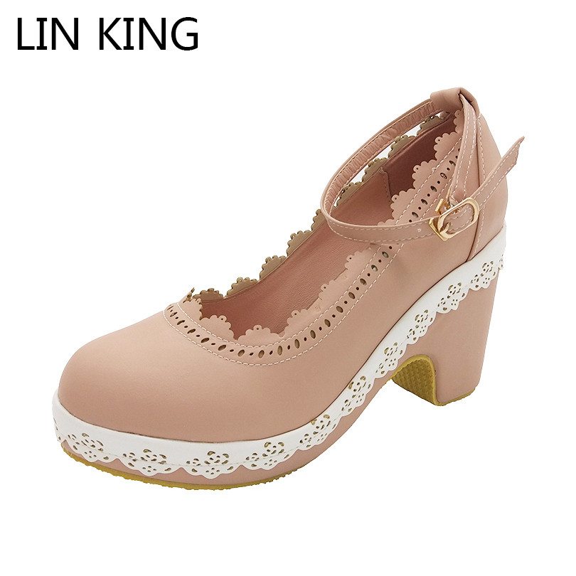 цена LIN KING Fashion PU Lolita Shoes Summer Women Shallow Mouth Ankle Strap Pumps Square Heels Cosplay Princess Party Platform Shoes