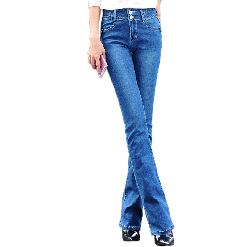 European Grand Prix new women Slim stretch big yards wide leg trousers Fashion Denim Pants blue Long Women jeans Z1781 silver band quartz wrist watch turntable black dial clock hours mens womens gifts free shipping