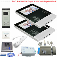 2 Apartments Video door phones intercom systems 2 keys outdoor unit + Electronic lock + Access Control ID Card Password System