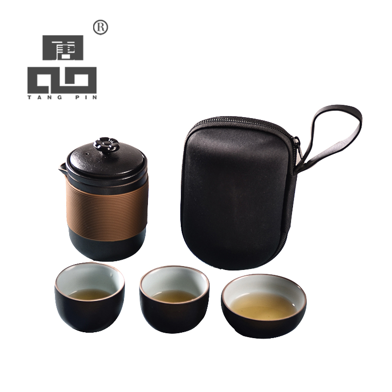 TANGPIN japanese black crockery ceramic teapot teacups portable travel tea sets with travel bag