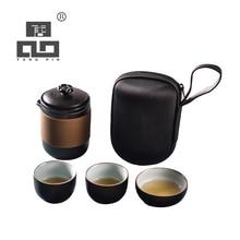 TANGPIN japanese black crockery ceramic teapot teacups portable travel tea sets with bag