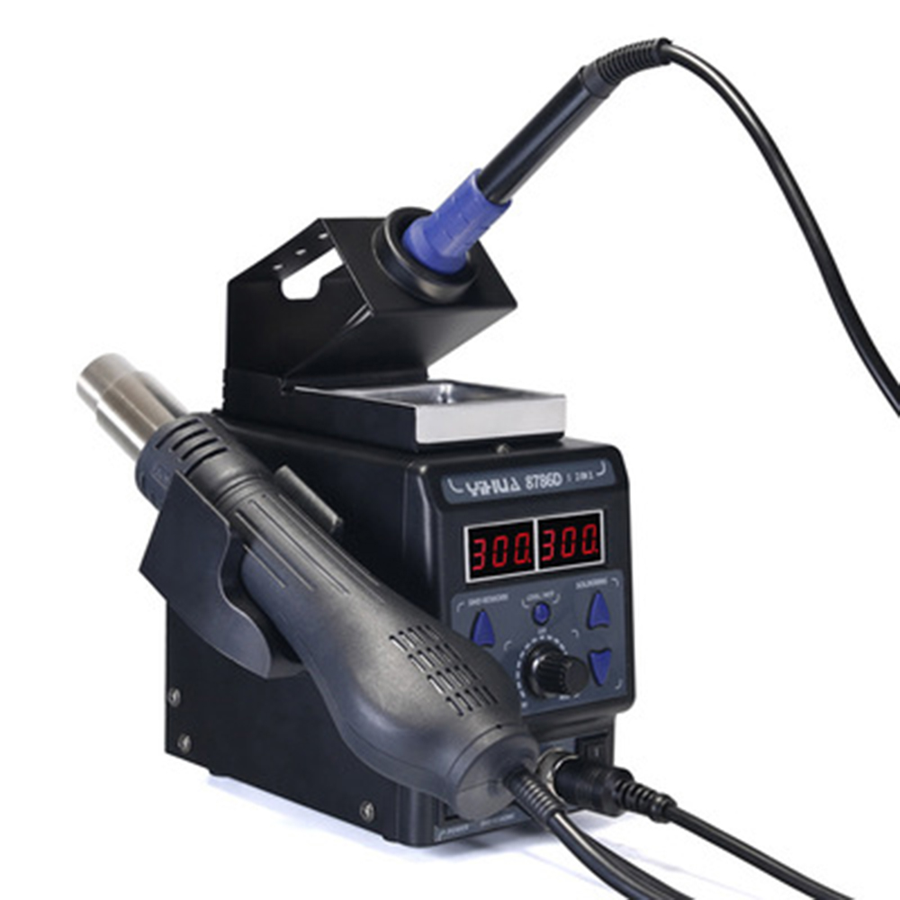 High quality 8786D 2 in 1 Upgrade SMD Rework Station Soldering Station Electric Soldering Iron+Hot Air Gun 700W For repair 8786d i rework soldering station led double display 2in1 smd soldering iron hot air gun 700w bga welding machine circuit repair
