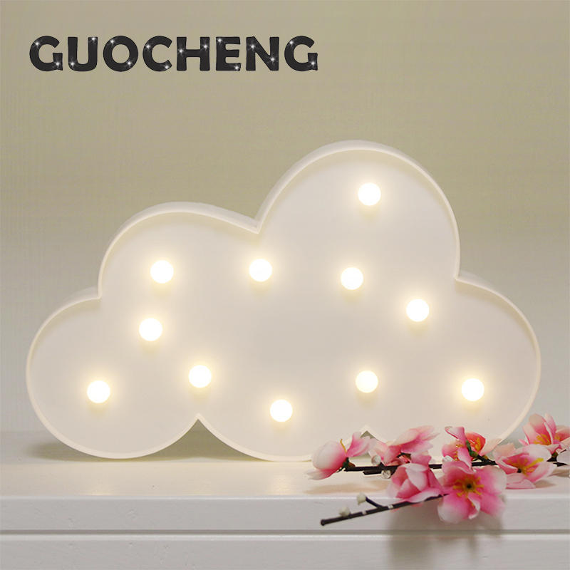 White Blue Cloud 3D Wall Lamps LED Night Light For Kids Rooms Battery Power Night Table Plastic Lamp Party Decoration Light ...