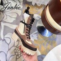 JUNBIE/женские ботинки гладиаторы наивысшего качества из натуральной кожи на шнуровке с круглым носком на платформе и толстом каблуке, женски