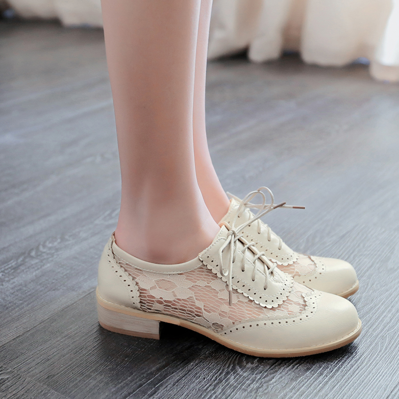 ФОТО BISI GORO women shoes medium heel shoes lace up oxford shoes women zapatos mujer spring summer casual ladies shoes plus size