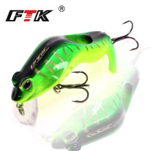 Купить с кэшбэком FTK Colorful Hard Frogs Fishing Lure 1pcs/lot 60mm 8g Floating Topwater Fish Wobbler Artificial Fishing Crankbait lures