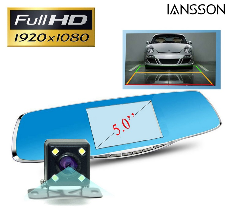 New Full HD 1080P Car Dvr font b Camera b font Avtoregistrator 5 Inch Rearview Mirror