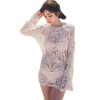 2018 Explosion Models Embroidery Lace Crochet Women Blouse Sun Shirt Long Sleeve Loose Hedging Lace shirt Tops Blusas BH152