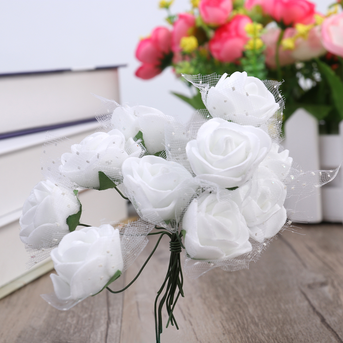 144pcs/Lot Artificial Foam Rose Flowers With Crystal Lace Wedding ...