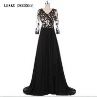 Robe De Soiree Black Lace Evening Dress A Line V Neck A Line Mother Of The Bride Dresses Floor Length Vestido De Festa Longo