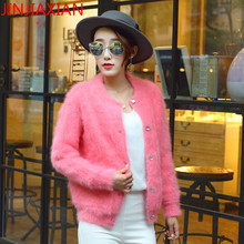 Winter thick brand mink cashmere cardigan jacket sweater knit sweater warm thin long sleeved woman jacket size