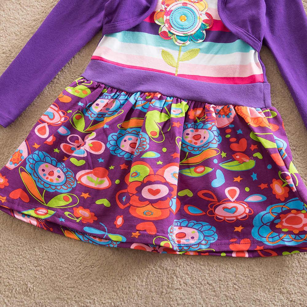 فيكتور فساتين للبنات كم طويل فستان طفلة الصغار المرقعة فساتين قطنية الأطفال الخريف والشتاء الملابس