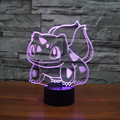 Bulbasaur Squirtle Anime Cartoon Toys  Action Figure 3D Light Color Changed Turtle Nightlights Kids Xtmas Gift