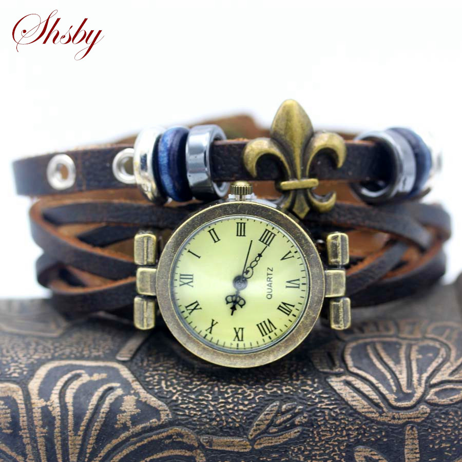 shsby New unisex ROMA vintage watch Real leather strap bracelet watches Punk beads women dress watches