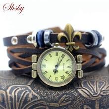 Shsby Nouveau unisexe ROMA vintage montre Véritable bracelet en cuir bracelet montres Punk perles femmes robe montres brun femelle montre-bracelet