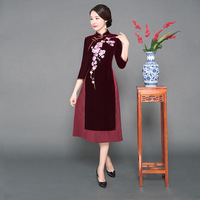 Chinese Style Ladies Cheongsam Mandarin Collar Dress Elegant Embroidery Floral Slim Qipao Autumn New Velvet Aodai Dress Vintage
