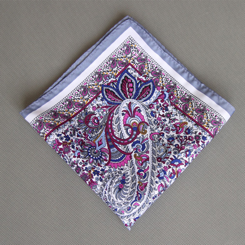 Mantieqingway Fashion Casual Men's Pocket Square Cotton Floral Handkerchief For Business Suits Wedding Paisley Pocket Hankies