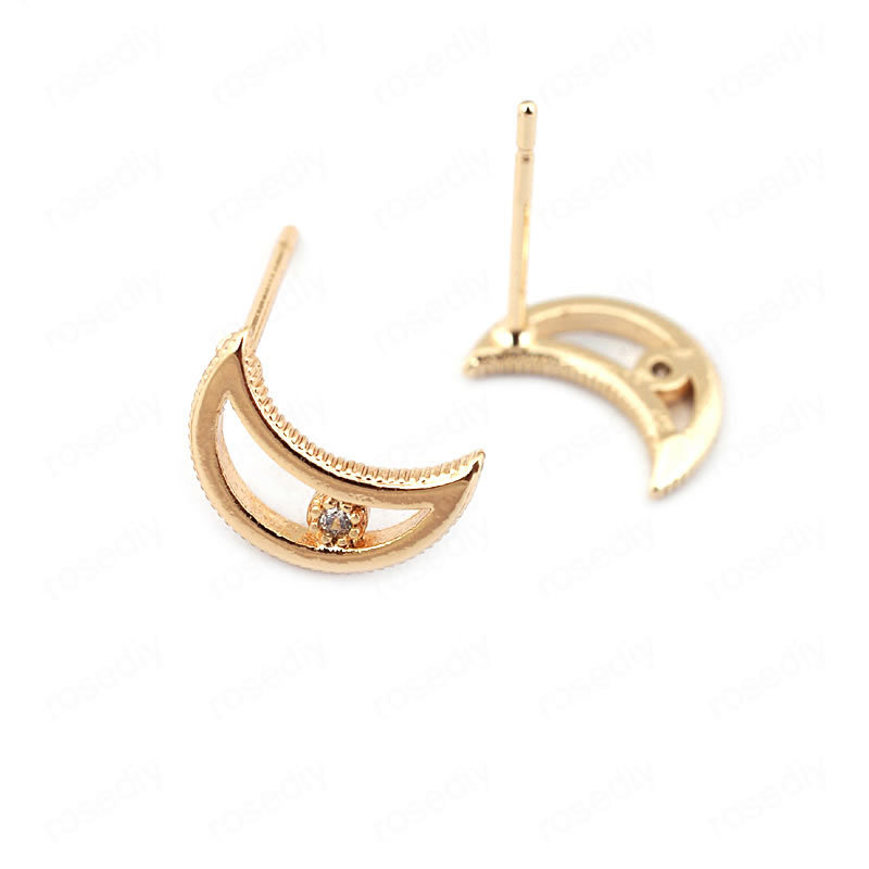 (33718)10PCS Moon 10*7MM 24K Gold Color Brass with Zircon Stud Earrings Pins High Quality Diy Jewelry Findings Accessories