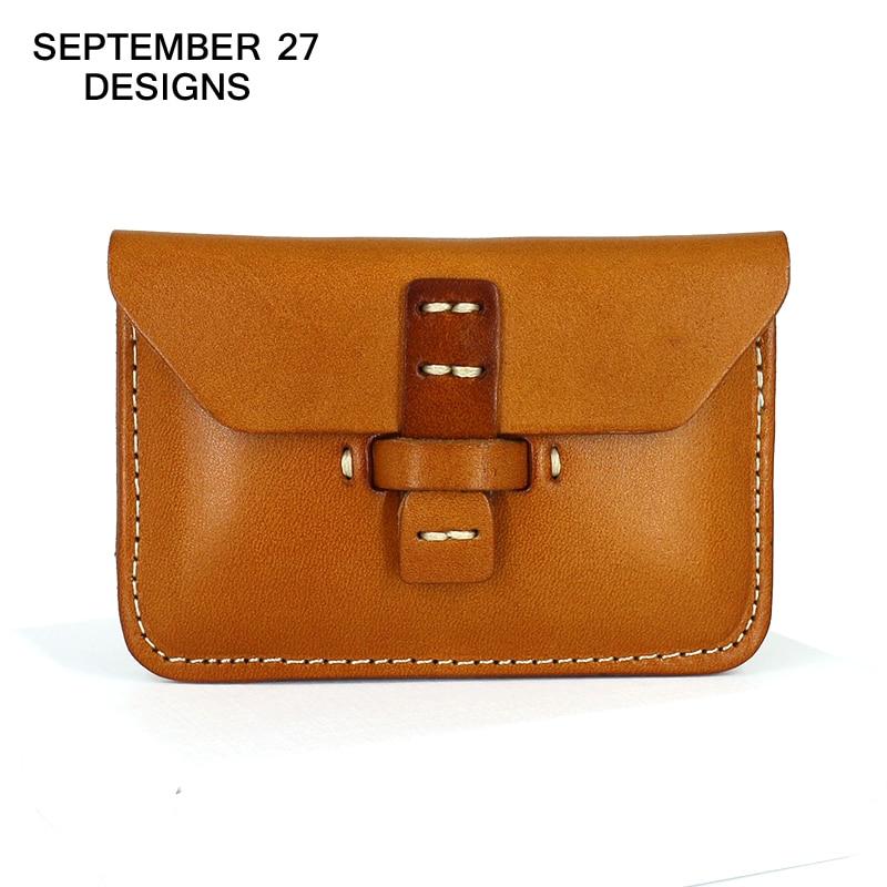 Visitkort Hållare Brand Designer Äkta Läder Vintage ID & Namn Korthållare Retro Mini Plånböcker Mynt Väskor Hasp Ficka
