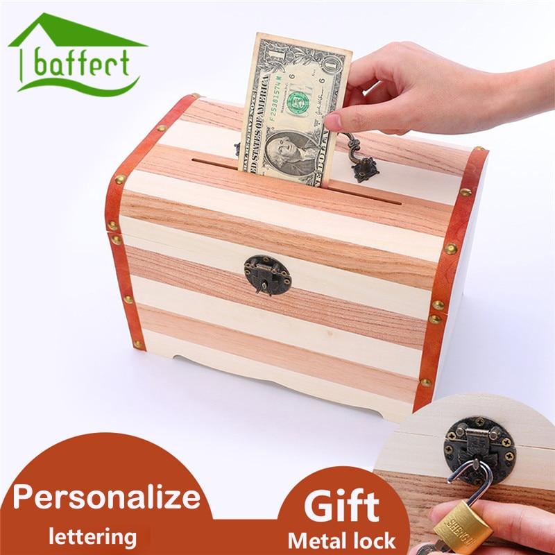 Wooden money box piggy bank storage box with lock safes for Secret piggy bank
