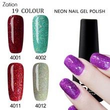 Zation Glitter Gel Fluorescence Nails Glow Lacquer Shine Gel Polish Shimmer Enamel Gel Bling Nail Polish Varnish Neon Nail Gel