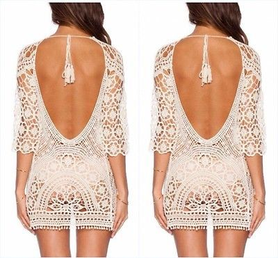 Mulheres Verão Maiô Lace Crochet Cover Up Swimwear Sexy Praia Blusa Oco Out New Hot Blusas