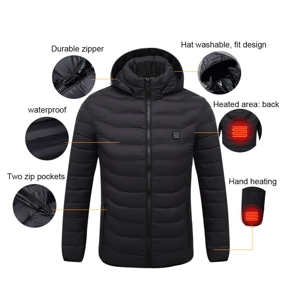 Men Women Heated Coat USB Electric Battery Long Sleeves Heating Hooded Jacket Warm Thermal Clothing Skiing
