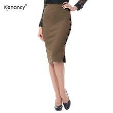 1351a74bcd Kenancy 2XL 5 Colors Size Slit Button Design Elegant Office Sheath Skirt  Women High Waist Bandage Hip Fork Slim Pencil Saia