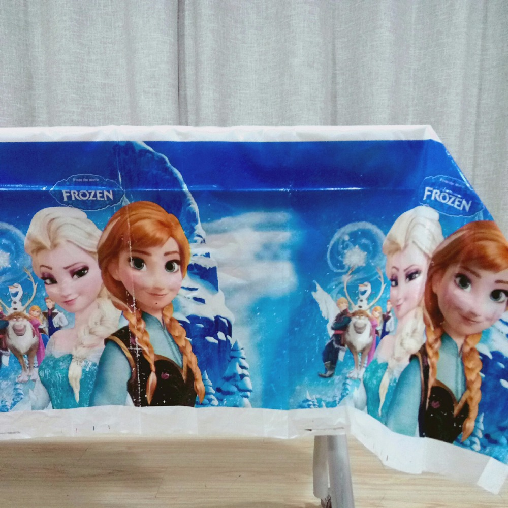 108*180cm Frozen Elsa and Anna Birthday Party Decoration Disposal Cartoon Theme Party Table Cloth Kids Favor Party Supplies Set