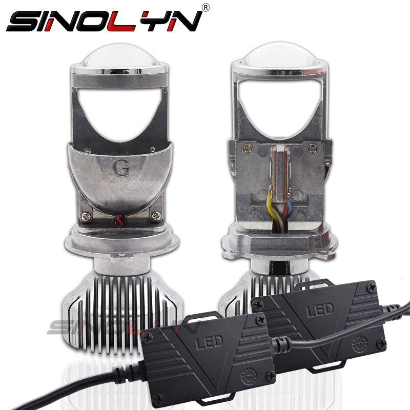 SINOLYN H4 9003 LED Mini Bi LED Projector 1.5 inch Headlight Lens 60W 5500K Headlamp Retrofit DIY Car Styling High Low Lights