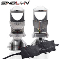 SINOLYN H4 9003 LED Mini Bi LED Projector 1.5 inch Headlight Lens 60W 5500K Headlamp Retrofit DIY Car Styling High Low Lights