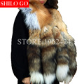 Free shipping 2017 winter new fashion women high quality luxury whole skin red fox four tail gold fox fur collar scarf