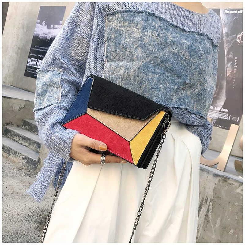 2019 Fashion Kualitas Kulit Patchwork Wanita Messenger Tas Wanita Rantai Tali Tas Bahu Kecil Silang Wanita dengan Penutup