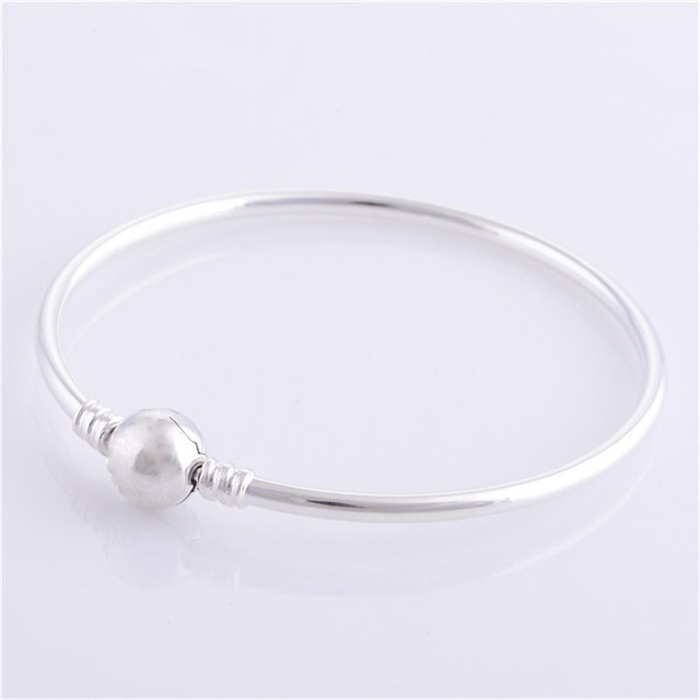 DIY 925 Sterling Silver Jóias Pulseiras Com Bola Clasp Estampado Marca Bangle Para Mulheres Se Encaixa Estilo Europeu Bead Encantos