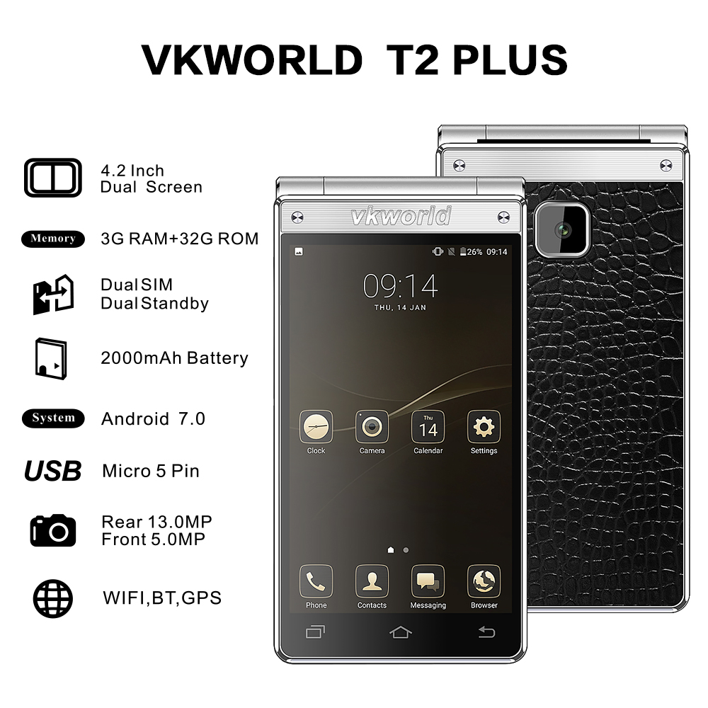 Vkworld T2 Plus 4.2 Inch Dual Screen Flip Phone Android 7.0 3G RAM+32G ROM 2000mAh Battery MT6737 Quad Core 4G Smartphone OTA
