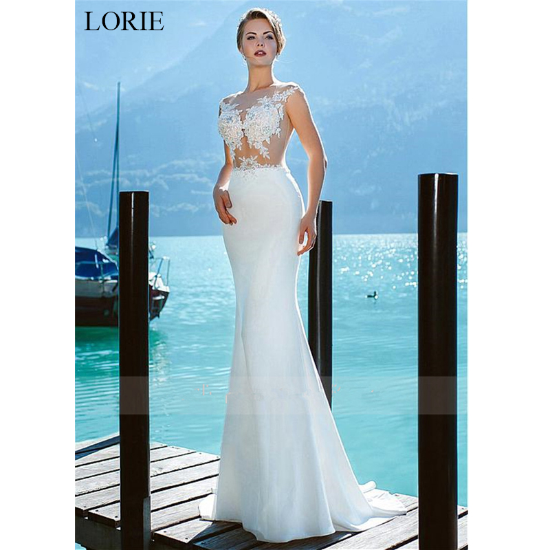 LORIE Sexy Illusion Lace Wedding Dress 2019 New Lace Appliques Mermaid Bride dress White Ivory Summer Beach vestido de noiva