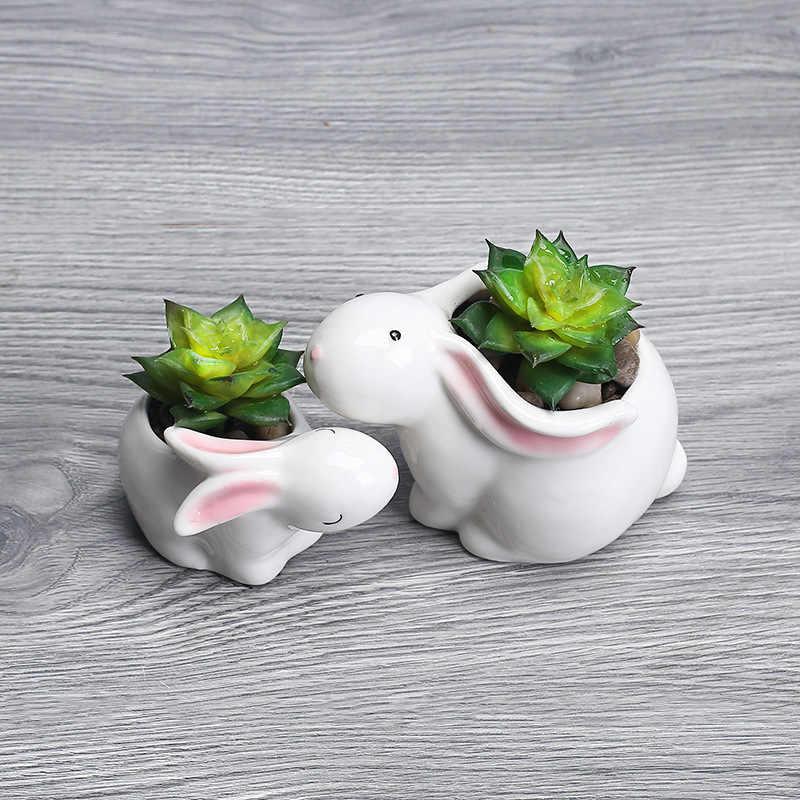 Suganlife креативный мультяшный Кролик Керамический садовый цветочный горшок зеленый горшок для растений пышный сад модный домашний декор