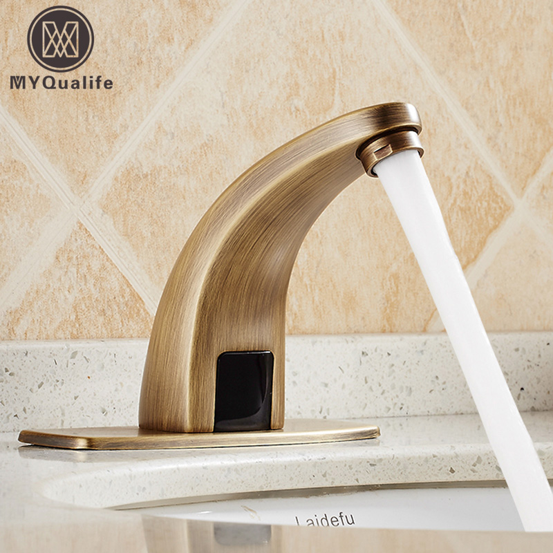 Antique Automatic Sensor Faucet Infrared Sensor Water Saving Tap Inductive Bathroom Kitchen Cold Water Tap or Cold and Hot Mixer free shipping new discount countertop bathroom automatic sensor faucet for hotel home water saving tap zr6130