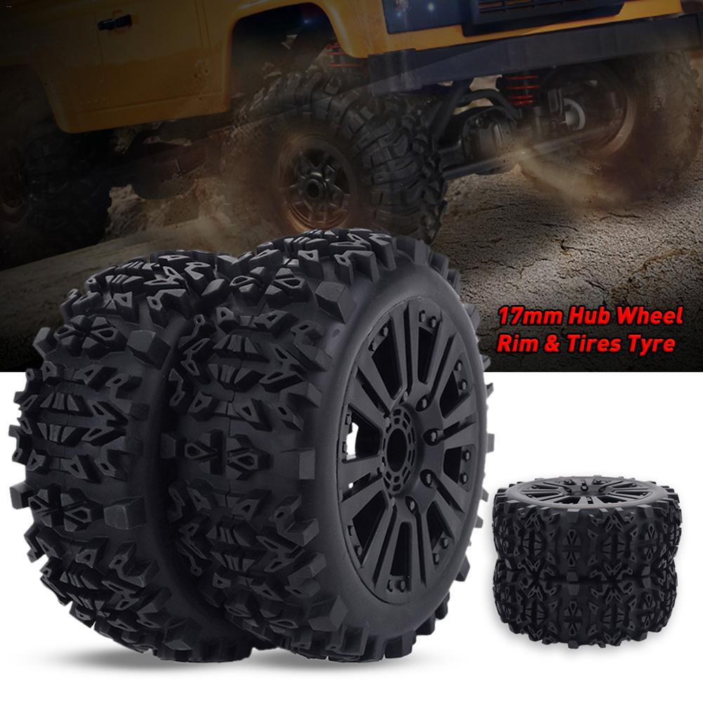 2pcs/4pcs 17mm Hub Wheel Rim & Tires Tyre For 1/8 Off-Road RC Car Buggy Redcat Team Losi VRX HPI Kyosho HSP Carson Hobao(China)