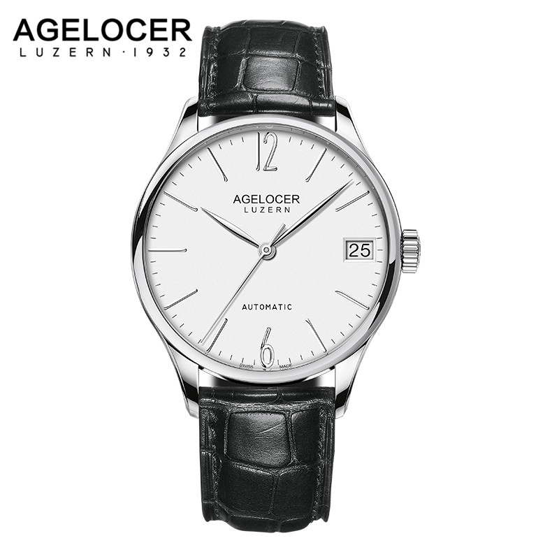 AGELOCER Mens Mechanical Watches Top Brand Luxury Waterproof Power Reserve 42 Hour Date Watch Man Leather Wrist Watch Men Clock shuhang watch man pocket mechanical windup watches pendant hollow luxury gold carving gift fob men s women s hand winding hour