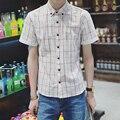 Бесплатная доставка новые летом 2016 мужской решетки с короткими рукавами
